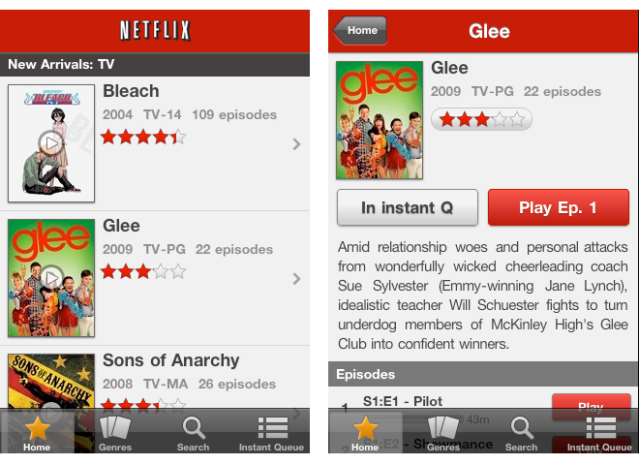 Netflix iPhone UI